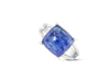 Tanzanite Cabochon Ring in 18K White Gold