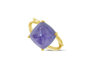 Tanzanite Cabochon Ring in 18K Yellow Gold