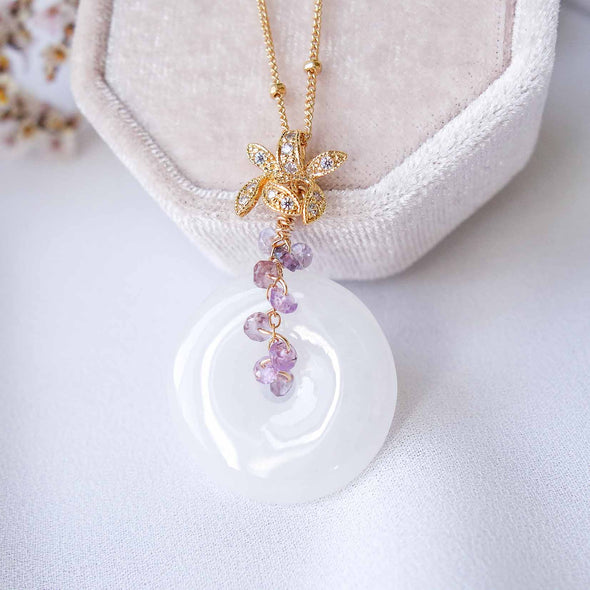 White Jade with Orchid Pendant Bail and Purple Sapphire Vine Necklace