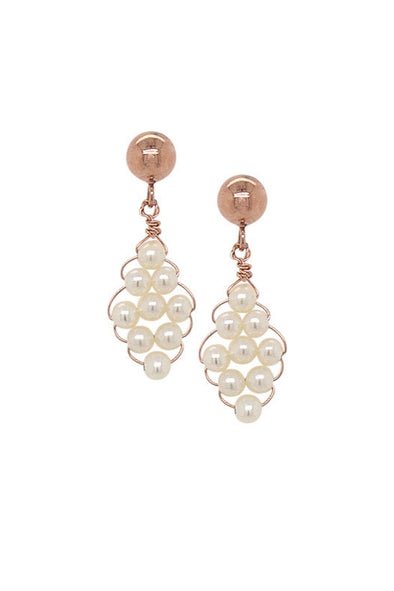 Hand-woven Pearl Ear Studs