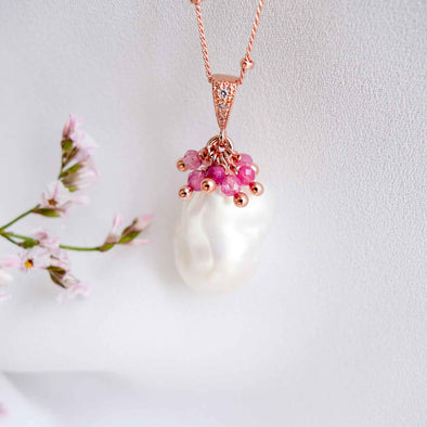 Baroque Pearl Necklace with Ruby Cluster