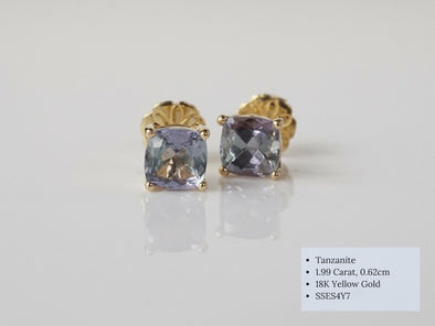 Square Tanzanite Ear Studs in 18K Yellow Gold