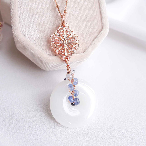 White Jade with Curved Peranakan Tile and Blue Sapphire Vine Necklace