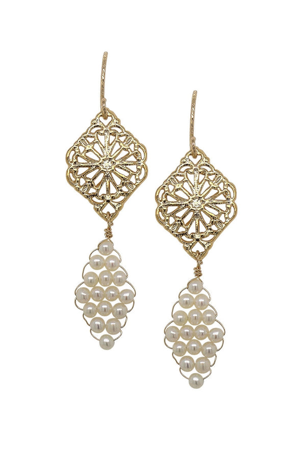 Peranakan Motif and Hand-woven Pearl Earrings