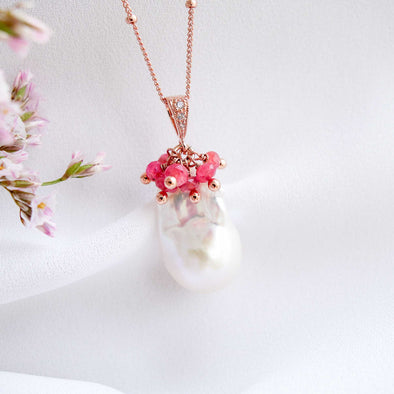 Baroque Pearl Necklace with Spinel Cluster