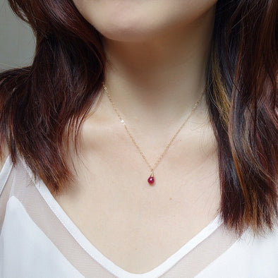 Ruby Gem Drop Necklace