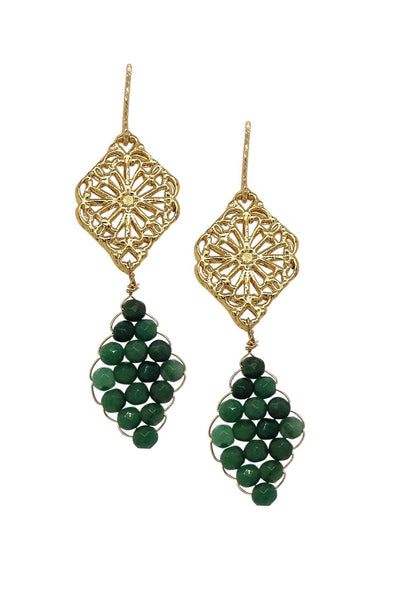 Peranakan Motif and Hand-woven African Jade Earrings