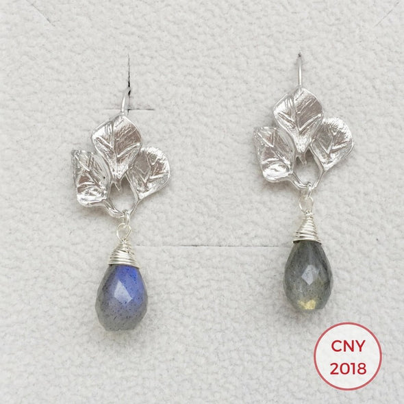 Textured Leaf Hook Earrings with Labradorite - S