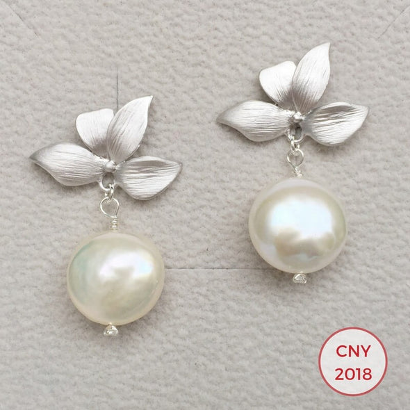 Four Leaves Ear Studs with Freshwater Coin Pearl - S