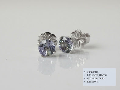 Tanzanite Ear Studs in 18K White Gold RSES5W4
