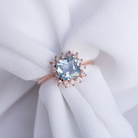 Aquamarine Halo Ring with Sapphire in 14K Rose Gold - AHR4R69