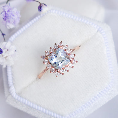 Aquamarine Halo Ring with Sapphire in 14K Rose Gold - AHR4R70