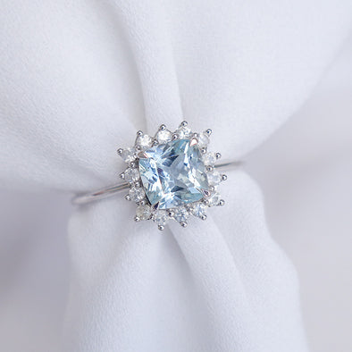 Aquamarine Halo Ring with Sapphire in 14K White Gold - AHR4W74