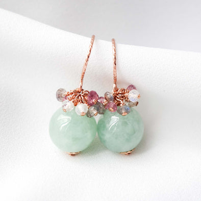 Forest Green Jade with Mixed Gem Cluster Hook Earrings