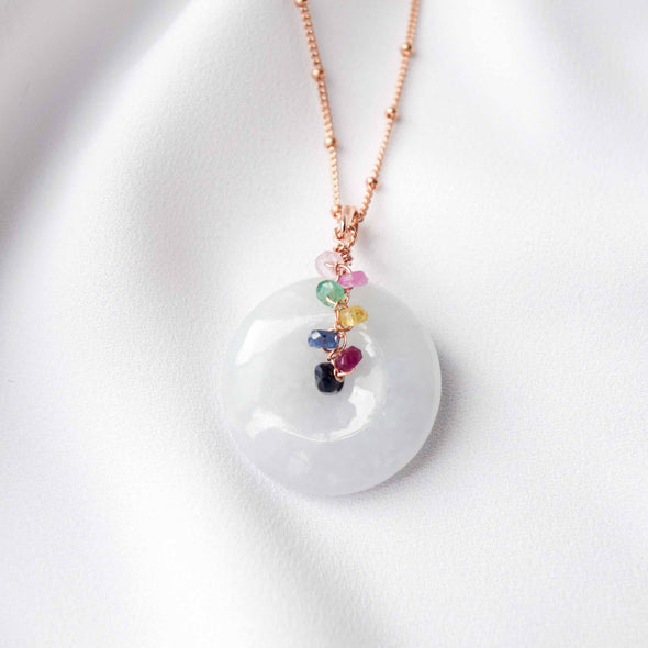 Lilac Jade with Colourful Sapphire Vine Necklace