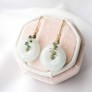 Light Green Jade with Moss Agate Vine Hook Earrings