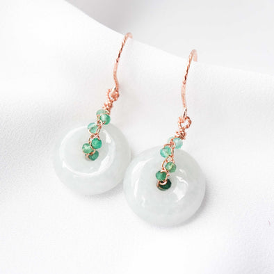 Light Jade with Green Onyx Vine Hook Earrings