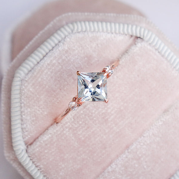 Aquamarine North Star Trio Ring in 14K Rose Gold - ANTR4R63