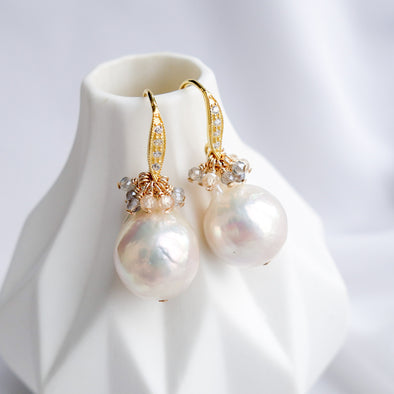 Baroque Pearls Curvy Hook Earrings with Gem Cluster APE10