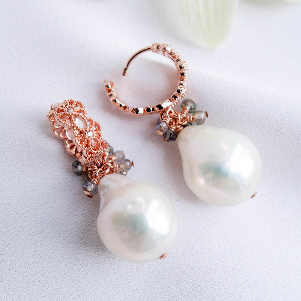 Baroque Pearls Intricate Hoop Earrings with Sapphire Cluster APE12