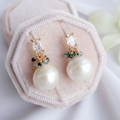 Baroque Pearls with Baguette Earrings and Emerald Cluster APE15