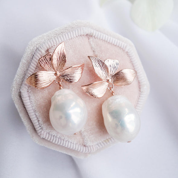 Four Petal Stud Earrings with Baroque Pearls APE18