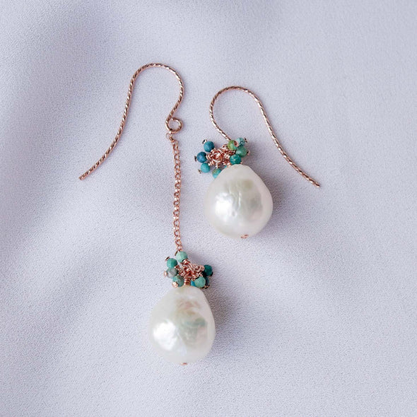 Asymmetrical Baroque Pearls Hook Earrings with Turquoise Gem Cluster APE1