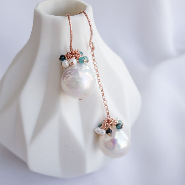 Baroque Pearls Sparkly Hook Earrings with Gem Cluster APE22