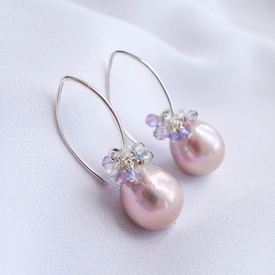 Baroque Pearls Sleek Hook Earrings with Gem Cluster APE26