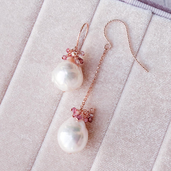 Asymmetrical Baroque Pearls Hook Earrings with Spinel Gem Cluster APE2