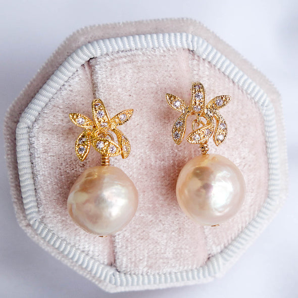 Orchid Stud Earrings with Baroque Pearls APE36