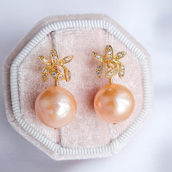 Orchid Stud Earrings with Baroque Pearls APE37
