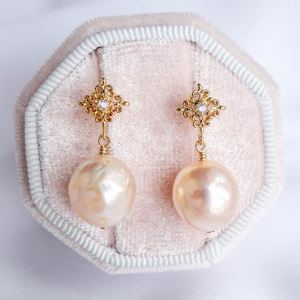 Intricate Stud Earrings with Baroque Pearls APE40