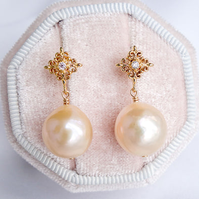 Intricate Stud Earrings with Baroque Pearls APE44