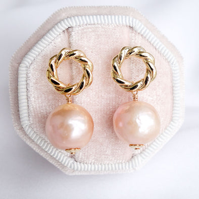 Baroque Pearls with Twisted Circle Ear Studs APE45