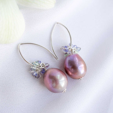 Baroque Pearls Sleek Hook Earrings with Gem Cluster APE5