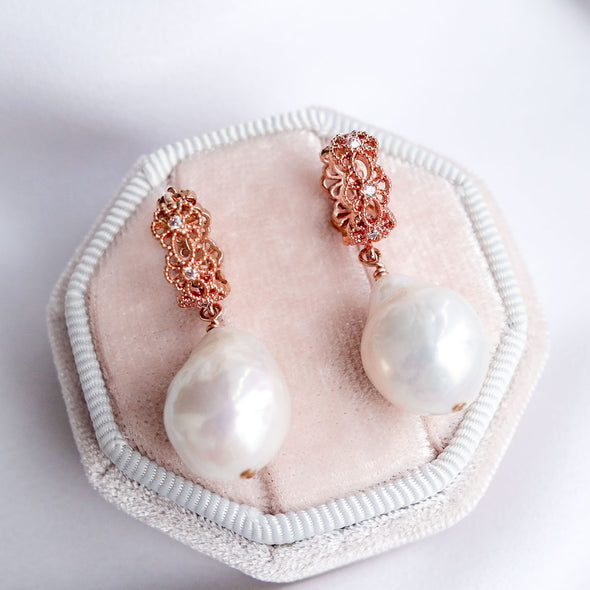 Intricate Ear Hoops with Baroque Pearls APE65