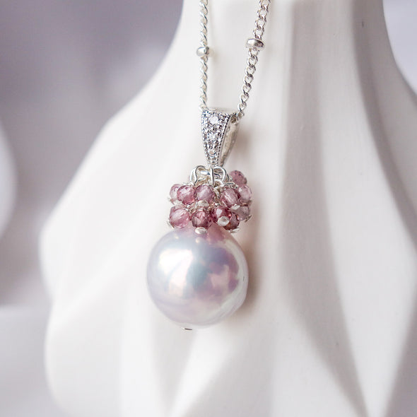 Baroque Pearl with Spinel Cluster Necklace APN10