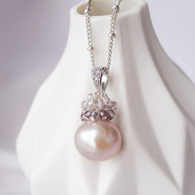 Baroque Pearl with Spinel Cluster Necklace APN11