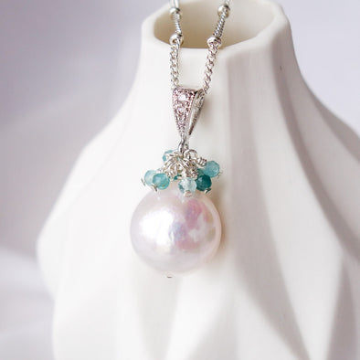 Baroque Pearl with Grandiederite Cluster Necklace APN12