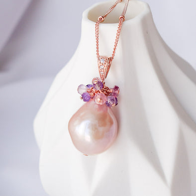 Baroque Pearl with Gem Cluster Necklace APN15