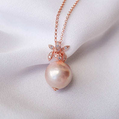 Baroque Pearl with Orchid Pendant Necklace APN17