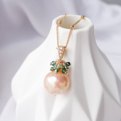 Baroque Pearl with Emerald Cluster Necklace APN4