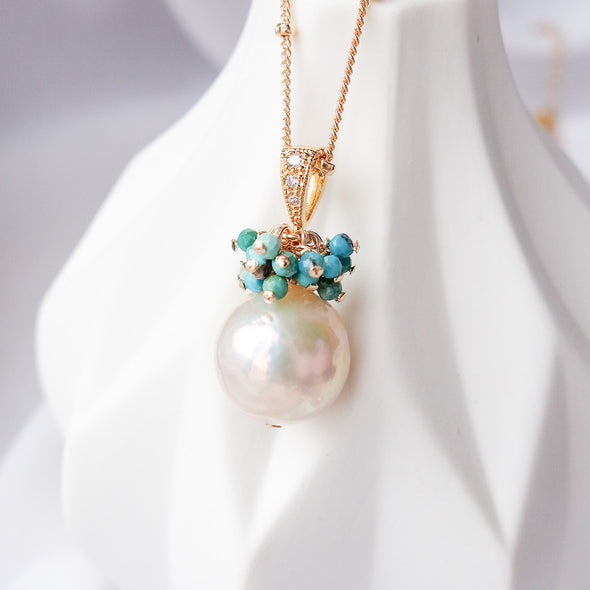 Baroque Pearl with Turquoise Cluster Necklace APN5