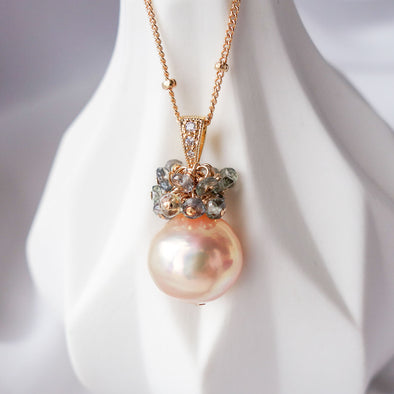Baroque Pearl with Sapphire Cluster Necklace APN6