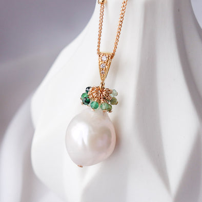 Baroque Pearl with Emerald Cluster Necklace APN7