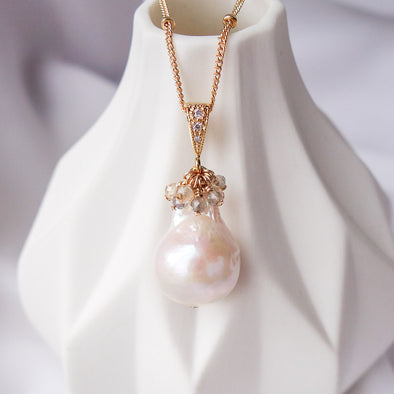 Baroque Pearl with Gem Cluster Necklace APN8