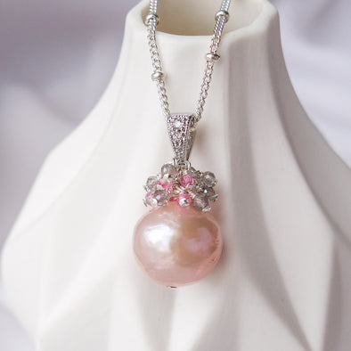 Baroque Pearl with Gem Cluster Necklace APN9