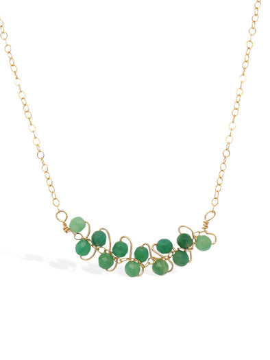 African Jade Vine Bar Necklace - Delicate Chain