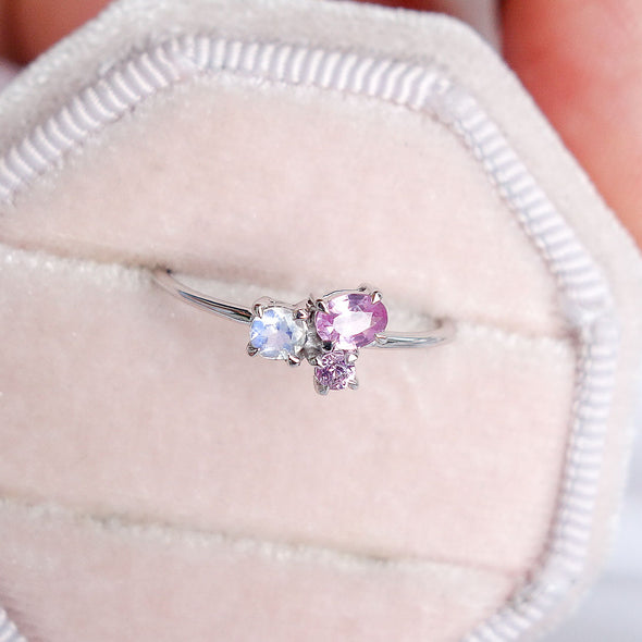 Blush Skies Ring in 14K White Gold - BSR3W35